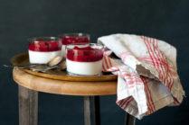 Coconut Pot de Creme with Raspberry Coulis