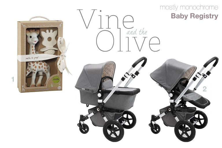 monochromatic baby registry vine and the olive