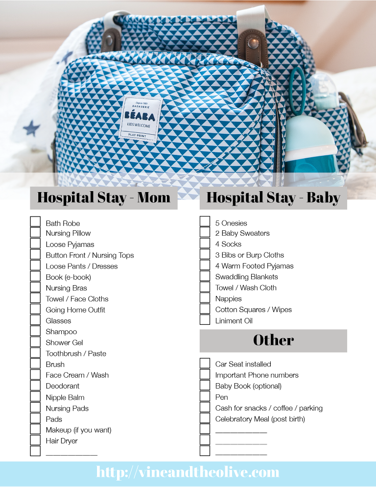 Vine and the Olive Hospital Packing List